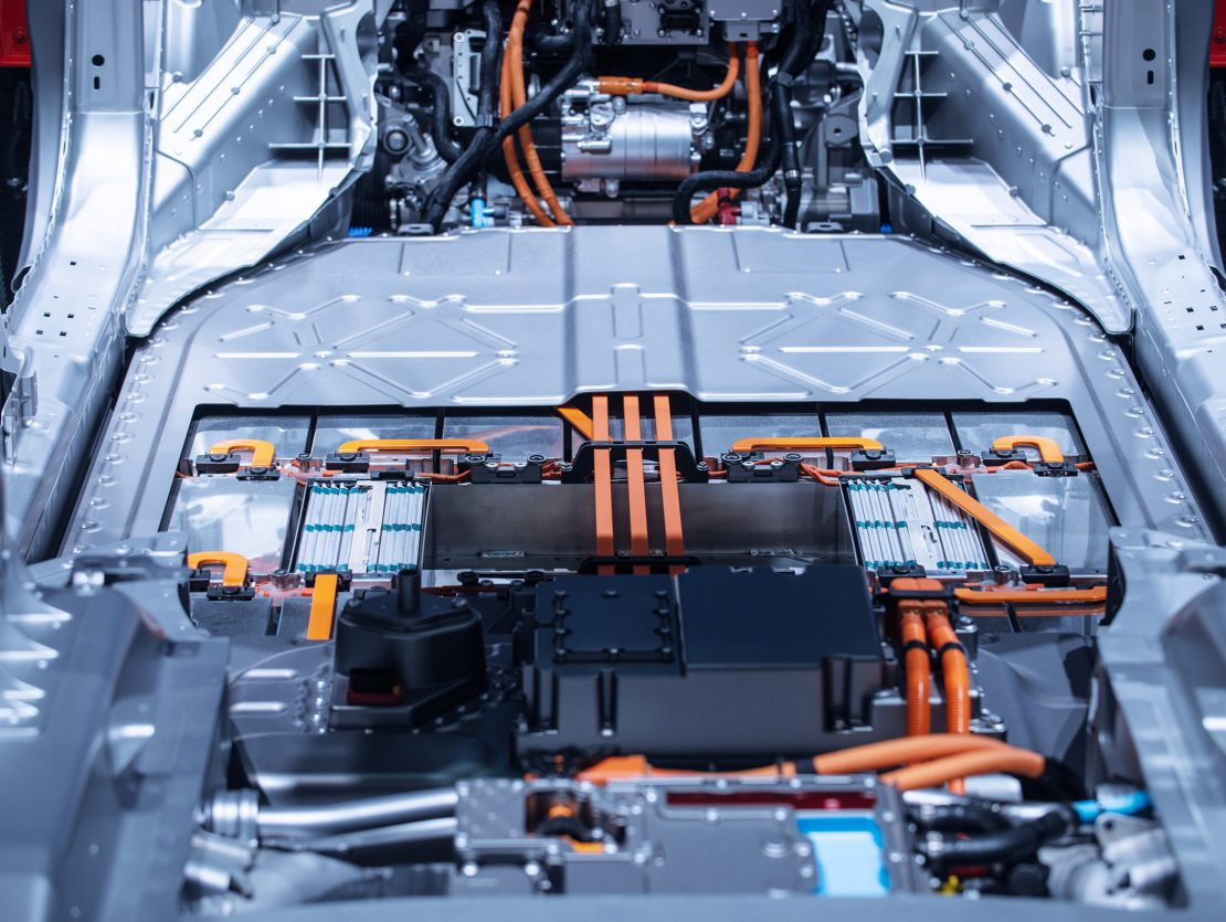 Chassis of the electric car with powertrain and power connections