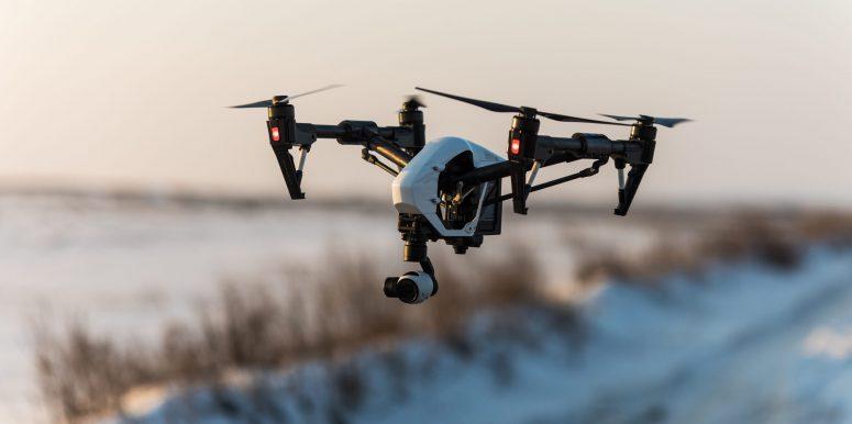 A shot of a drone mid flight